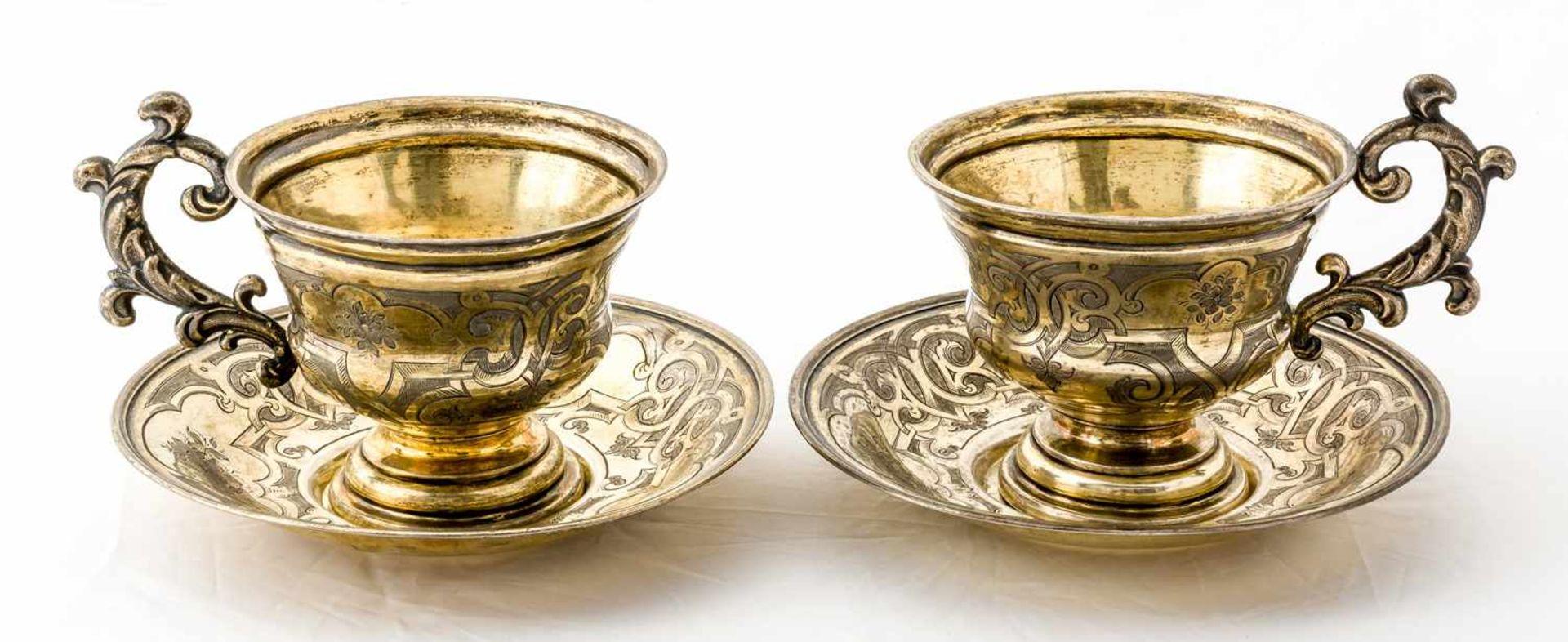 2 Teetassen mit Untertassen Russland, Silber vergoldet (zus. 414g), St. Petersburg 1860