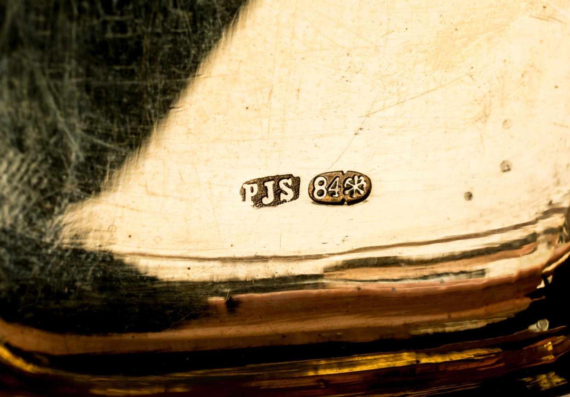 """Zigarettendose mit Dekor-Gravierung Russland, Silber (92g), St. Petersburg vor 1899 Meister: """"PJS"""" - Bild 2 aus 2"""