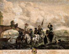 L`Abreuvoir des Chasseurs Kupferstich von Moyreau nach dem Gemälde von Wouvermens, datiert 1741 45,5