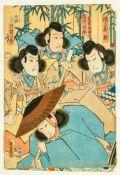7 japanische, farbige Holzschnitte (?) Schauspieler des Kabuki-Theaters Je ca. 36 x 24 cm Seven