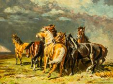 "Pferde Öl / Leinwand, rechts unten signiert ""E. Schilling N. A. Roloff"" 60,5 x 80 cm, mit Rahmen"