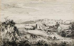 Albert Hertel (1843-1912) Ponte Nomentano in der römischen Campagna Federzeichnung, signiert und