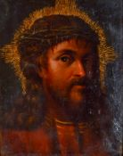 Christus Öl auf Holz, wohl 17. Jh. ca 32 x 24,5 cm, mit Rahmen 44 x 38 cm Christ, Oil / board,
