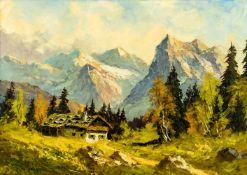 "Karwendelgebirge Öl / Leinwand, rückseitig ""Georg Kiste"" bezeichnet 51 x 70 cm, mit Rahmen 65,5 x 86"