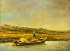 """Fischer mit Boot Öl / Sperrholzplatte, rechts unten signiert """"J.v.Os"""" 30,5 x 40,5 cm, mit Rahmen"""