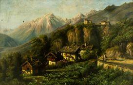 """Schloss Tirol Öl / Leinwand, links unten signiert """"A. Forstmann"""" (?) 68 x 105,5 cm, mit Rahmen 74"""