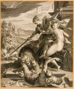 Sieg der Wahrheit unter dem Schutze der Gerechtigkeit Kupferstich nach Hans von Aachen (1552-