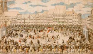 Nikolaus Solis: Ritterturnier auf dem Münchener Marienplatz Altkolorierte Radierung, wohl 1568,