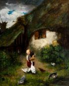 Bauernhofidylle Öl / Leinwand, rechts unten signiert, wohl Franz Friedbichler (1850-1880) 56 x 46