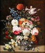 """Blumenstillleben Öl / Holz, wohl um 1900, rechts unten signiert """"Karl Heiner"""" 29 x 24,5 cm, mit"""