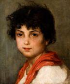 """Kinderporträt Öl auf Leinwand, rechts signiert """"O.Brandt"""" (wohl Otto Brandt 1828-1890) 32 x 27 cm,"""