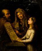 Anna lehrt Maria das Lesen Öl /Leinwand, doubliert, 18. Jh. 30 x 24,5 cm, mit Rahmen 46 x 41,5 cm