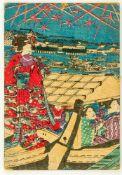 2 farbige Holzschnitte Ukiyo-e auf dicken Karton geklebt 26,3 x 18 cm, 24,3 x 16,6 cm 2 colored