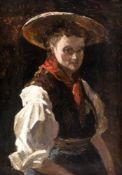 Bäuerin Öl / Holz, wohl Ende 19. Jh. 18 x 13,5 cm, mit Rahmen 37,5 x 32 cm Farmer`s wife, Oil /