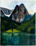 Berglandschaft Öl / Leinwand, rechts unten monogrammiert und datiert 1973 77 x 61 cm Mountain