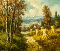 """Landschaft mit Kornhocken Öl/ Leinwand, links unten """"W. Grechow"""" signiert 60,5 x 70 cm, mit Rahmen"""
