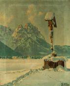 """Wegkreuz im Winter Öl / Leinwand, rechts unten signiert """"R. Klöden Garmisch"""" 61 x 50 cm, mit"""