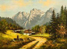 """Kaisergebirge Öl / Leinwand, links unten signiert """"Leidner"""" 60 x 80 cm, mit Rahmen 76 x 96 cm The"""