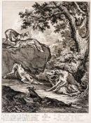 Der Frühling Kupferstich von Johann Elias Ridinger (1698-1767) 45,5 x 33 cm, mit Rahmen 72 x 59,5 cm