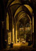 "Prozession im Kreuzgang Öl/ Leinwand, rechts unten signiert ""J. Pozzi pinx.1836"" 39 x 27,5 cm, mit"