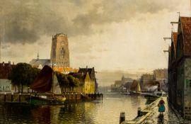 "Stadtansicht Öl / Leinwand, signiert ""C. Bergfeld"", wohl Carl Bergfeld (1837-1920) 80 x 120 cm,"
