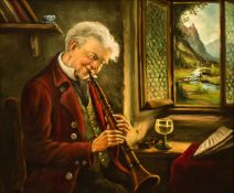 Klarinettenspieler Öl / Leinwand, Ende 20. Jh. 50,5 x 60,5 cm, mit Rahmen 69 x 79 cm A Clarinet