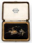 Zigarettenetui Japan, um 1920 -1930 Größe des Etuis ca.1 x 12 x 7,7 cm, Kästchen: 3 x 14 x 10 cm