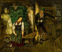 """Szene in der Bauernstube Öl / Leinwand, rechts unten unleserlich signiert, """"nach Kaufmann"""" und"""