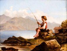 Angler Öl /Holz, links unten unleserlich signiert 14,2 x 18 cm, mit Rahmen 25,5 x 29 cm Fisher,