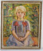 Kind im Garten, Blondes Mädchen. August Garbe (Niedersächsischer Kunstmaler, Akademie der