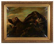 Zwei Adler mit gerissenem Erpel. Henry Schouten (1864 - 1927, Gent). Öl auf Leinwand, unten links