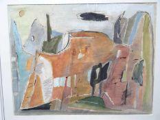 Abstrahierte Landschaft. Modernes Aquarell. Ungedeutet signiert, datiert 1985, passende Rahmung.