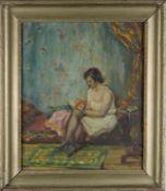 Junge Frau auf Chaiselongue. August Garbe (Niedersächsischer Kunstmaler, Akademie der bildenden