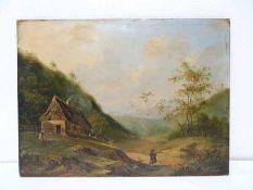 Biedermeierliche Ideallandschaft, Münchener Schule. Ungedeutet signiert, datiert wohl 1840.