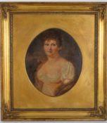 Brustporträt einer Dame mit Ohrring, wohl englisch. Öl auf Malplatte, Datierung um 1900,