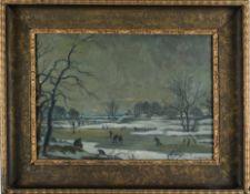 Winterlandschaft mit Schlittschuhläufern. August Garbe (Niedersächsischer Kunstmaler, Akademie der