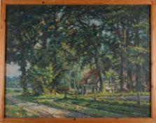 Sommerlich grüne Landschaft bei Isernhagen. August Garbe (Niedersächsischer Kunstmaler, Akademie der