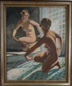 Weiblicher Akt vor dem Spiegel. August Garbe (Niedersächsischer Kunstmaler, Akademie der bildenden