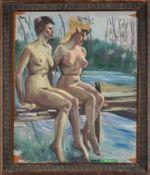 2 sitzende weibliche Akte am Wasser. August Garbe (Niedersächsischer Kunstmaler, Akademie der