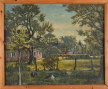 Gehöft, wohl bei Isernhagen, mit Hühnern. August Garbe (Niedersächsischer Kunstmaler, Akademie der