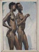 Scherzende Afrikanerinnen. August Garbe (Niedersächsischer Kunstmaler, Akademie der bildenden Künste