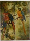 Papageienvögel in natürlicher Umgebung. Öl auf Leinwand auf Holz kaschiert, Datierung um 1890,