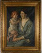 Mutter mit rothaarigem Mädchen. August Garbe (Niedersächsischer Kunstmaler, Akademie der bildenden