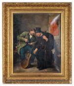 Straßenmusikanten unter Straßenaushang. Genregemälde, Signatur Fr. Keller oder W. Jensen 1882. Öl