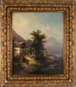 Romantische Landschaft, signiert J. August. Öl auf Leinwand, Datierung um 1870, unten links
