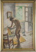 Weiblicher Akt bei der Morgentoilette. August Garbe (Niedersächsischer Kunstmaler, Akademie der