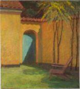Mediterraner Innenhof. August Thjell Clemmensen (11.10.1884 Charlottenlund - 29.12.1980 Vejby). Öl