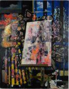 Künstlerin im Atelier. Phantastischer Realismus. Öl auf Leinwand, Datierung um 1990, unsigniert,