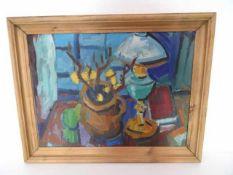 Petroleumlampe und Topfpflanze auf Tisch. Öl auf Leinwand, Verso ungedeutet signiert und (19)49