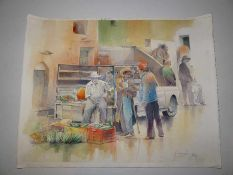 Tunesische Gemüseverkäufer mit Pick-Up. Mustapha Denguezli (Zeitgenosse, Tunesien). Aquarell auf